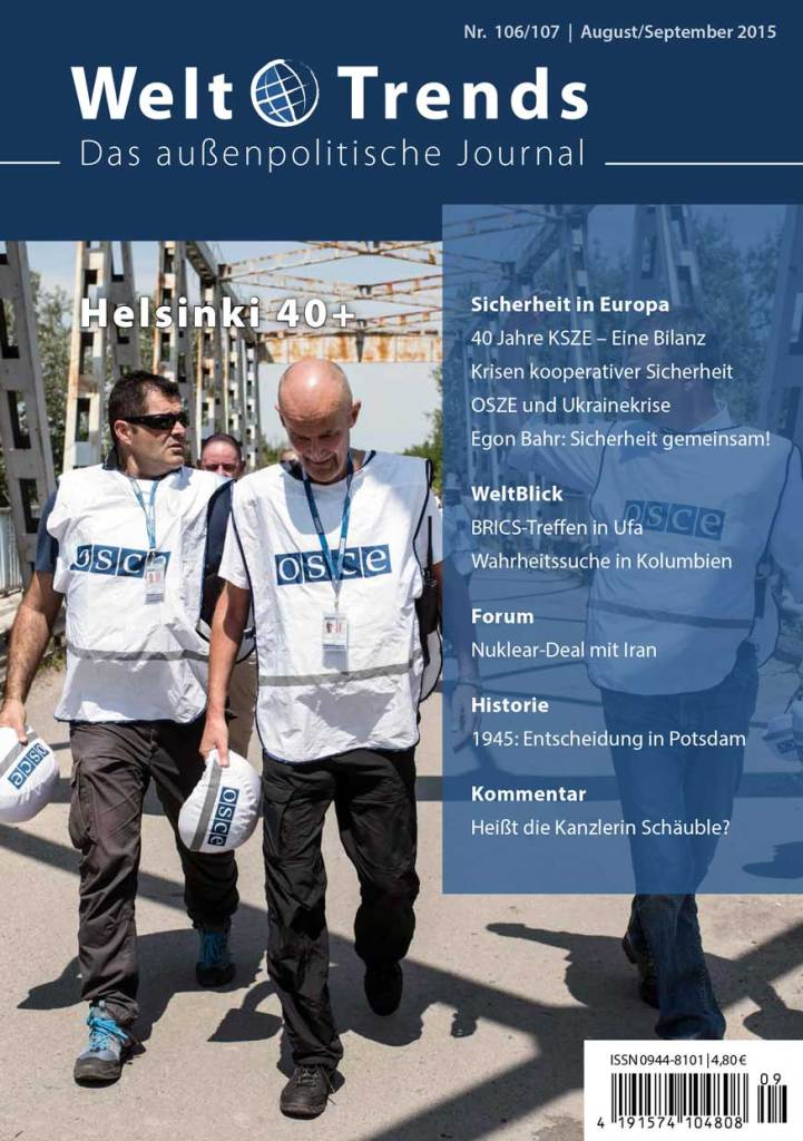 WeltTrends 106/107: Sicherheit in Europa – Helsinki 40+, Cover
